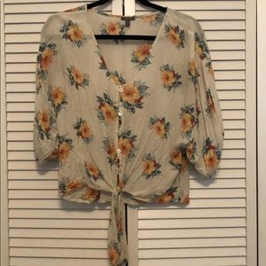 Charlotte Russe Floral Tie Front Top